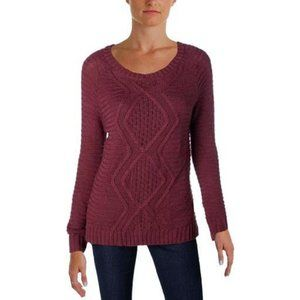 NY Collection Womens Cable Knit Burgundy Sweater